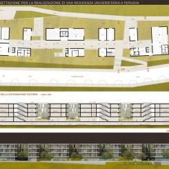 Progetto per residenze universitarie (Perugia), tavola di progetto