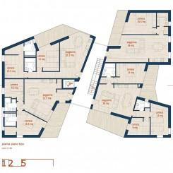 Progetto di edifici ad uso residenziale e terziario (Brescia), pianta