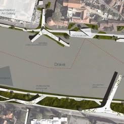 Riqualificazione dell'argine del fiume Drava (Maribor), planivolumetrico