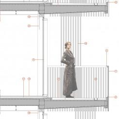 Progetto di edifici ad uso residenziale e terziario (Brescia), dettaglio